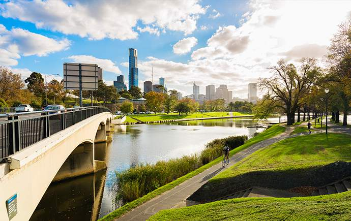 View of Melbourne skyline from Swan St Bridge