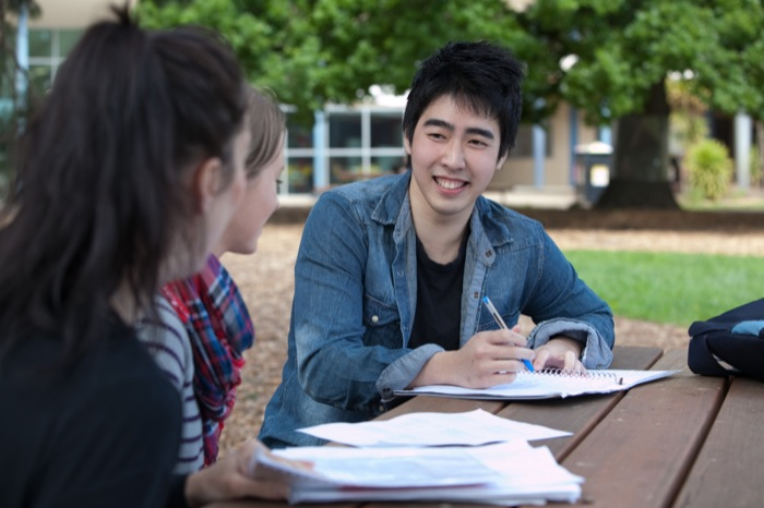 Male student sitting outside at a table with two female students studying. It is a bright sunny day and there is a tree in the background