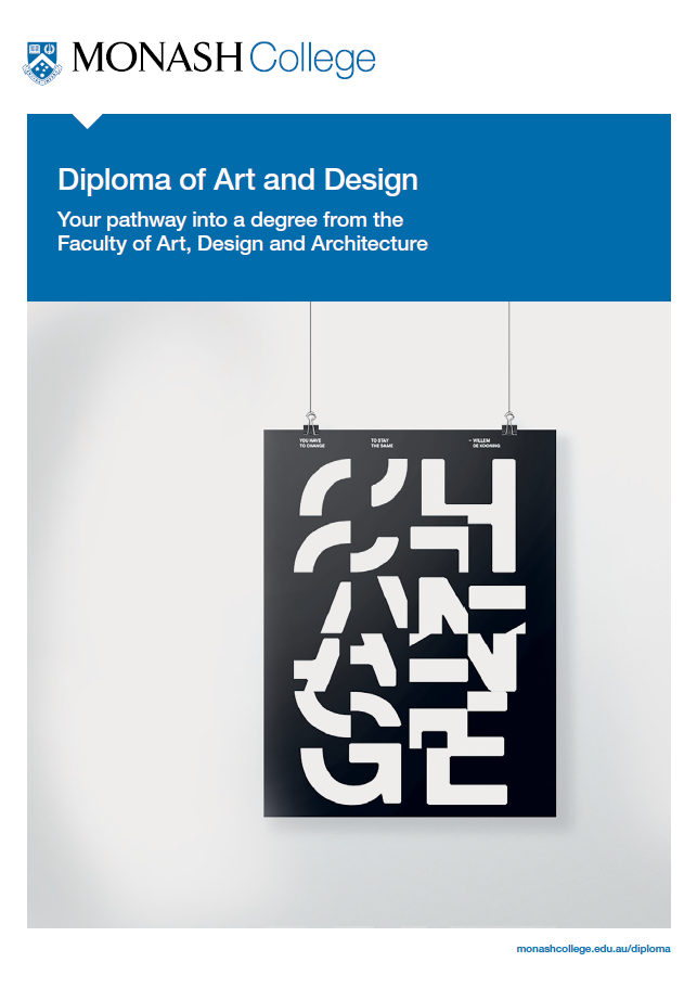 Front cover of the Diploma of Art and Design brochure