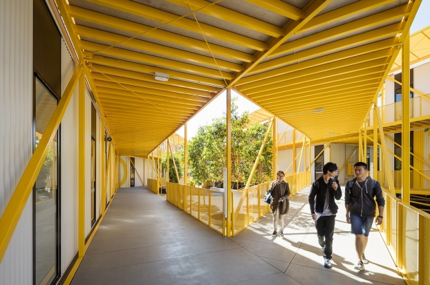 Covered walkways at the Monash College Learning Village
