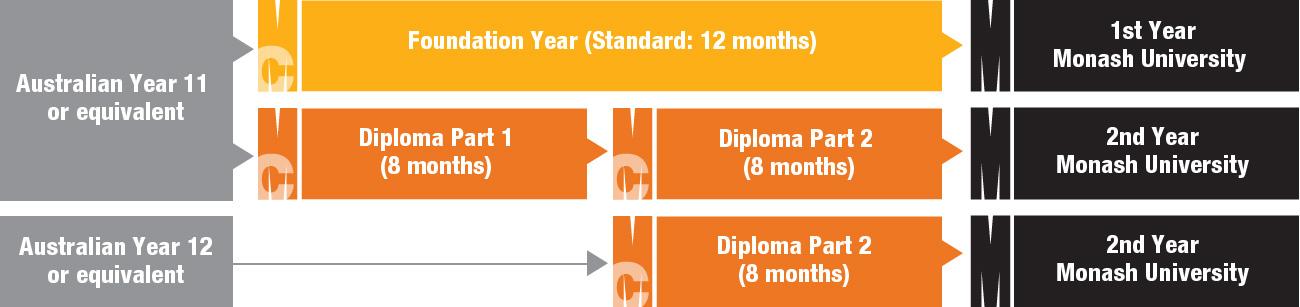 Infographic: Monash College study pathways to Monash University
