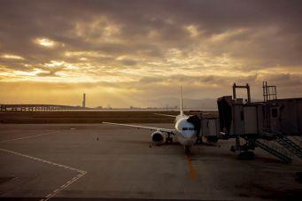 Airport plane docked