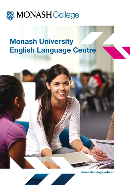 Front cover of the Monash University English language Centre course guide featureing a group of students.